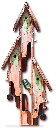 Top of 3-Tree Birdhouse Post Design by Fowl Places