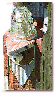 Detail of Bridhouse Post Showing Clear Hemingray CD 154 Insulator by Fowl Places